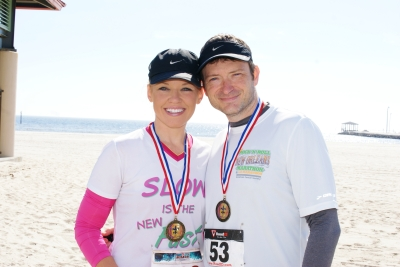 My husband and me after the Long Beach Carnival Classic Half Marathon. 1/26/13
