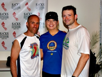 Eric with my husband and me in 2011 on the Born to Run book tour.